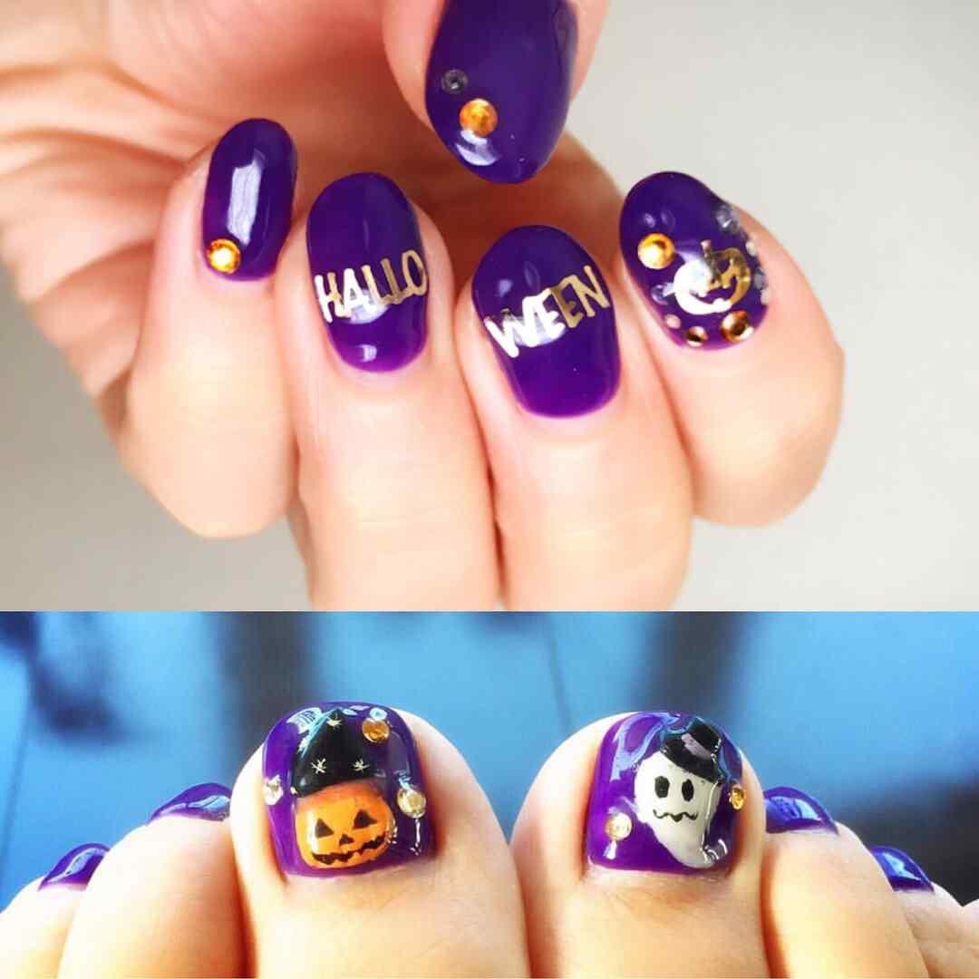 uñas de halloween para manos y pies