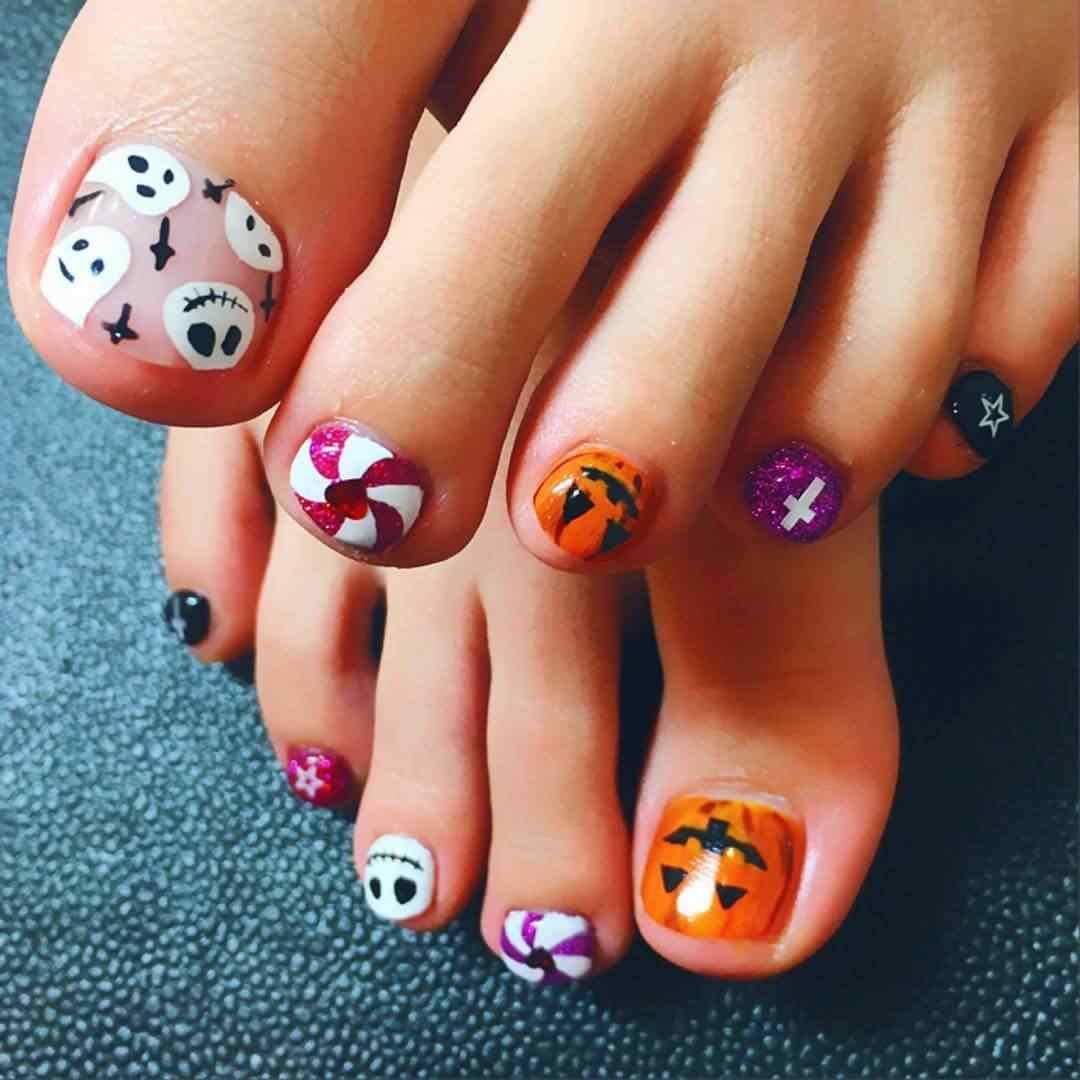 uñas de halloween para pies