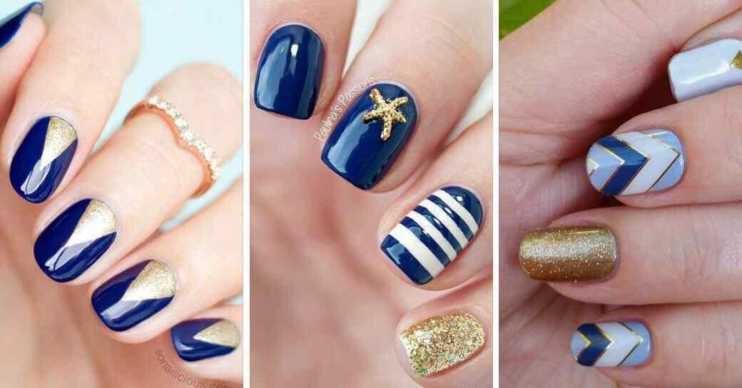 Decoración de uñas azules