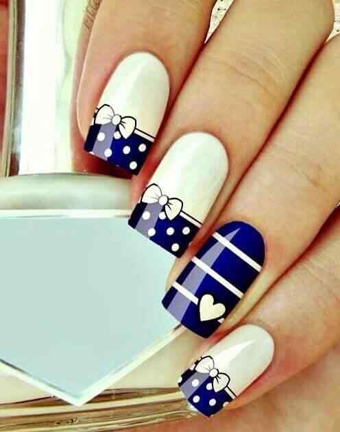 uñas azules decoradas juveniles