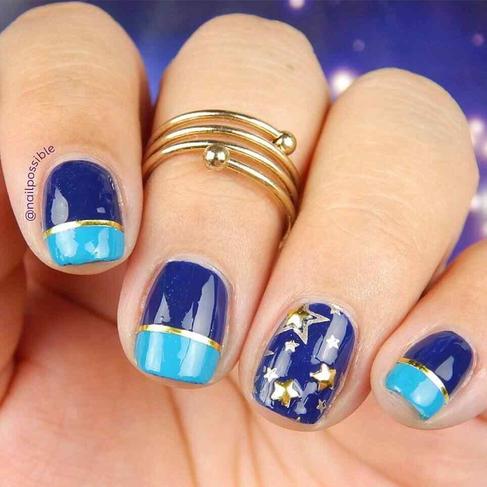 uñas azules para niñas
