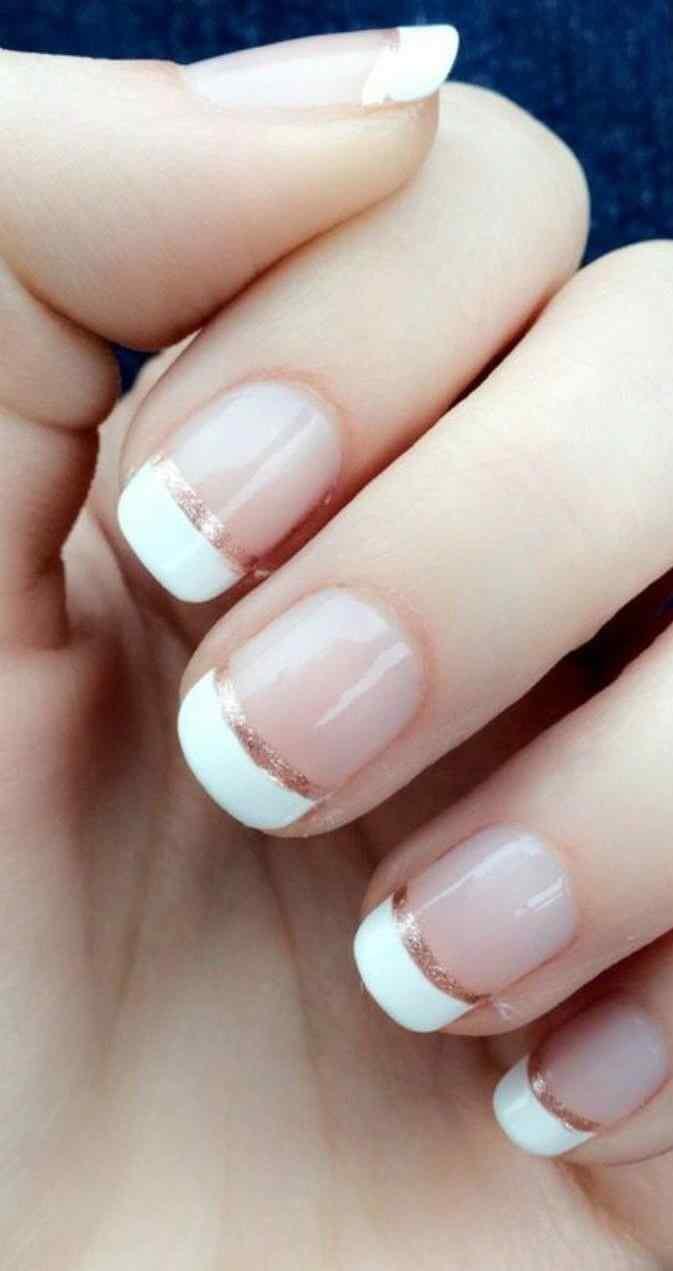 uñas cortas para novia estilo francesa