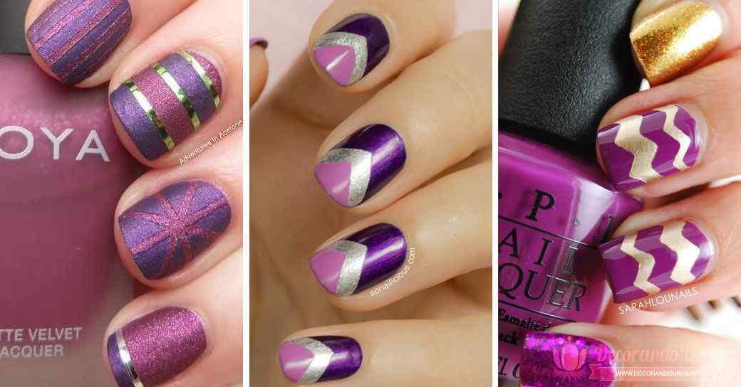 Uñas decoradas violeta