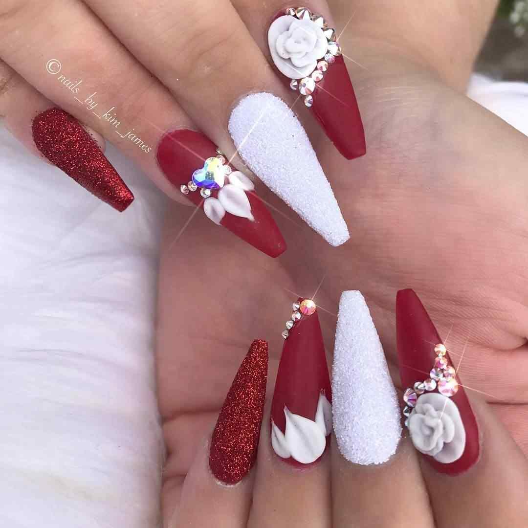 uñas rojas y blancas para novia