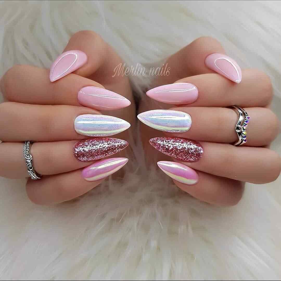 uñas sencillas para novia color rosa
