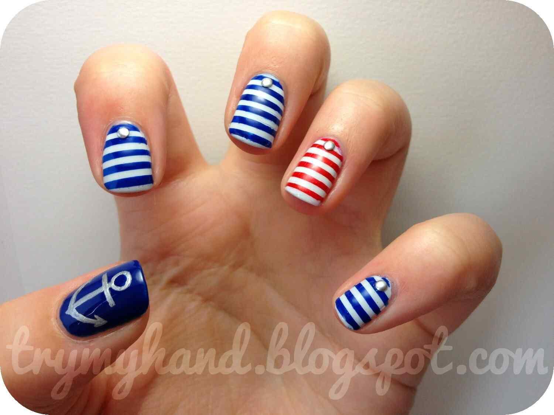 Uñas Nauticas, mas de 40 ejemplos - Nautical Nails 9