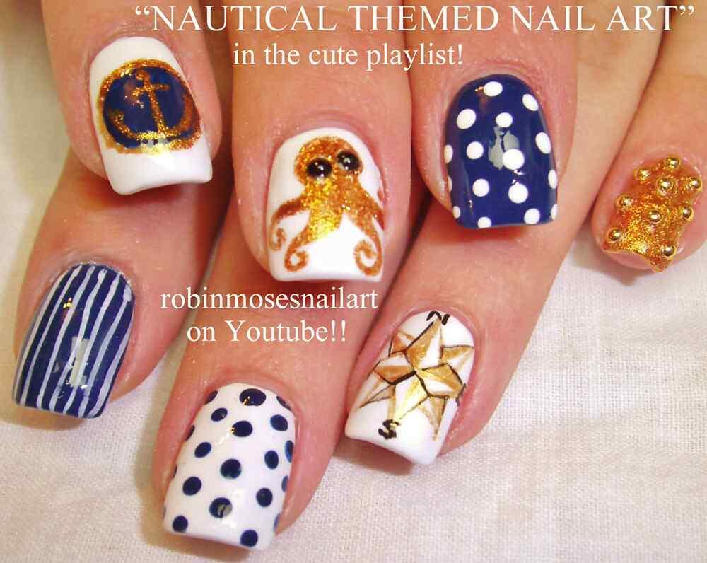 Uñas Nauticas, mas de 40 ejemplos - Nautical Nails 40