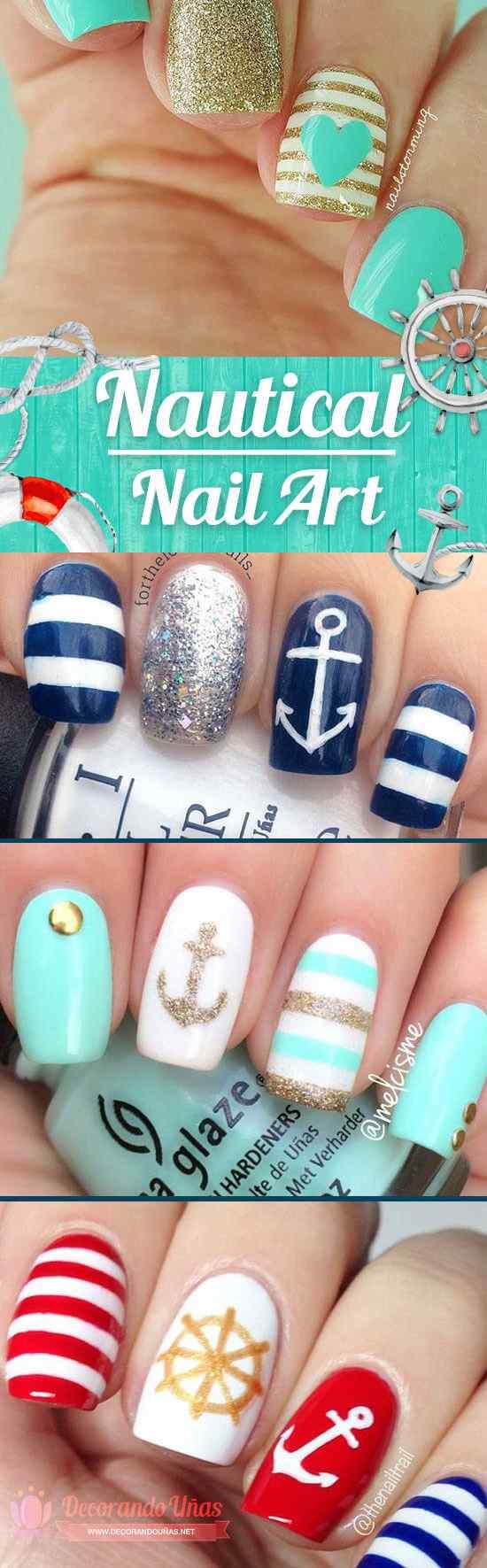 Uñas Nauticas, mas de 40 ejemplos - Nautical Nails 87
