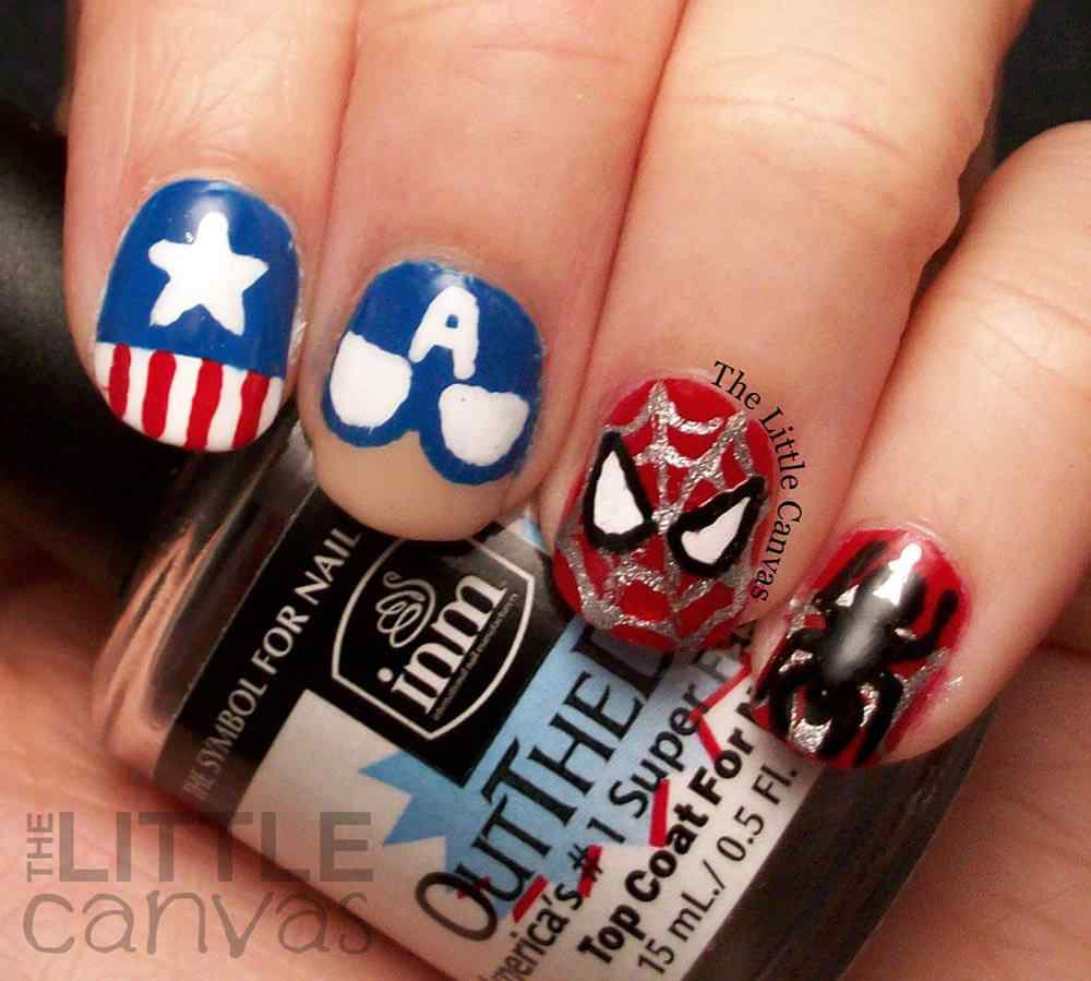 Captain America SpiderMan Nail Art