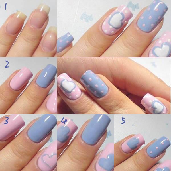 Decorar las u as de color azul y rosa beb u as - Pintar con acrilicos paso a paso ...