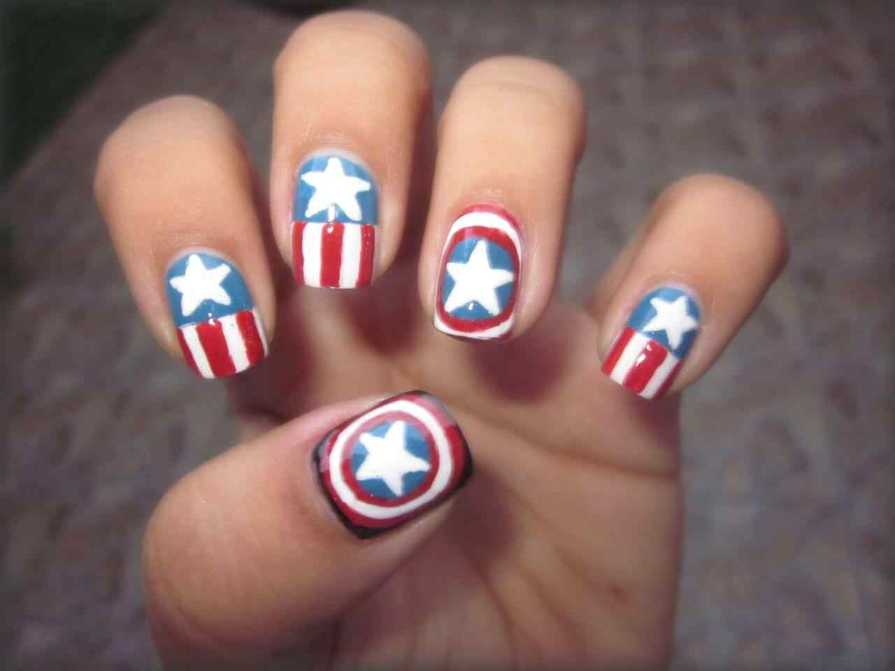 Nailart captain america