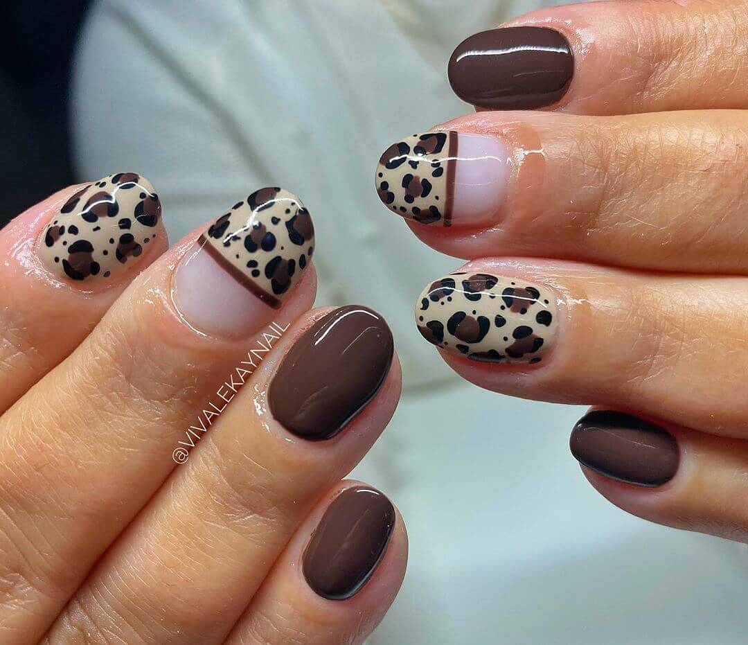 uñas decoradas marron animal print
