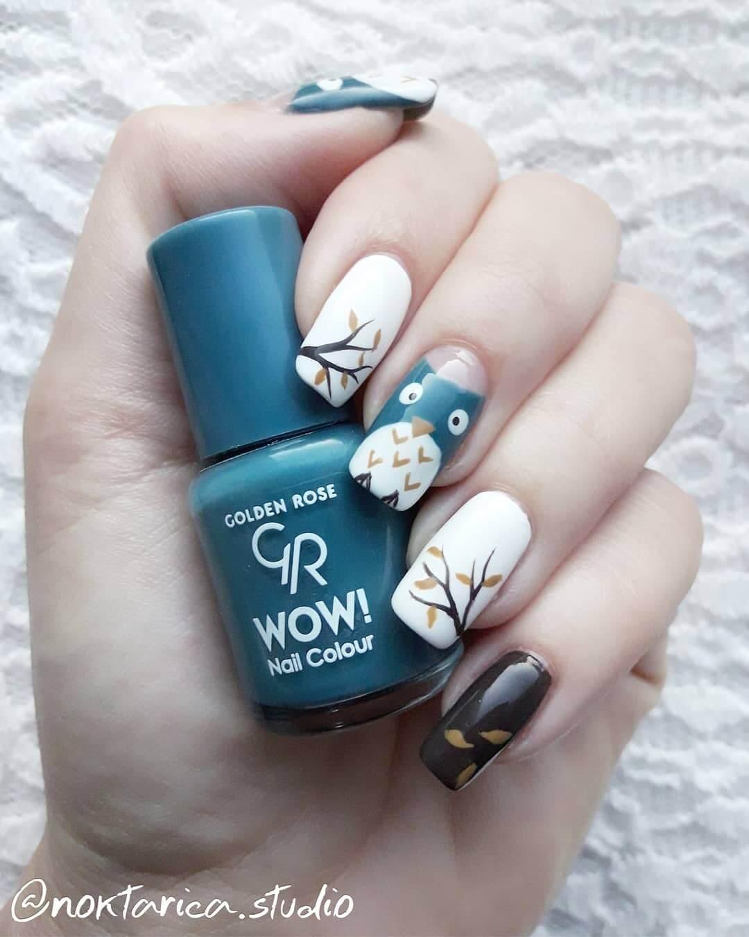 decoracion de uñas con buho