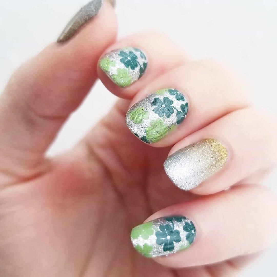 diseño de uñas con trebol para san patricio