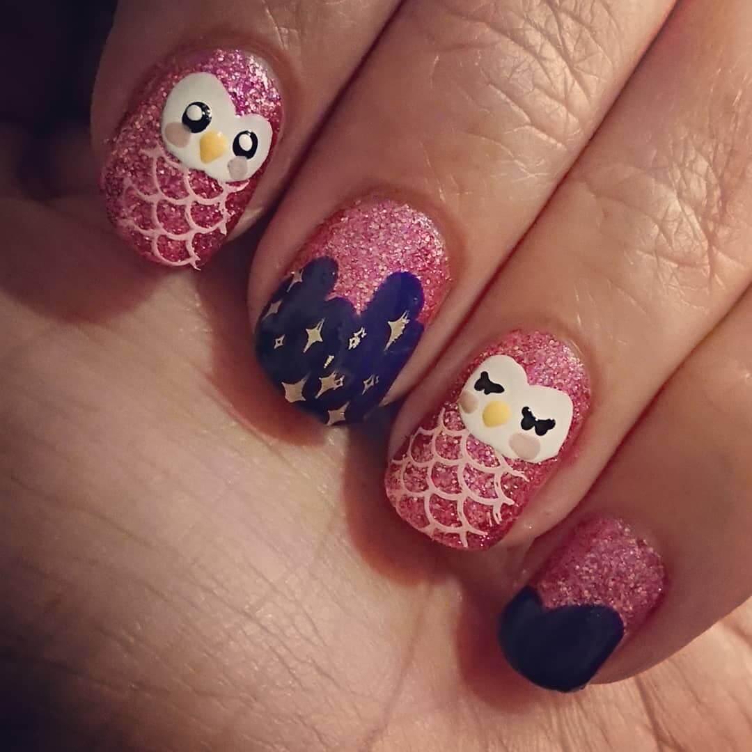 uñas decoradas con buho
