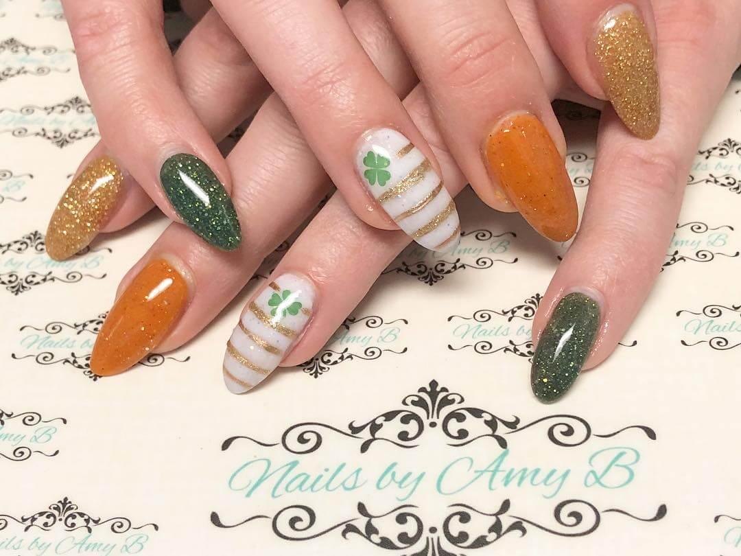 uñas verde y naranja san patricio