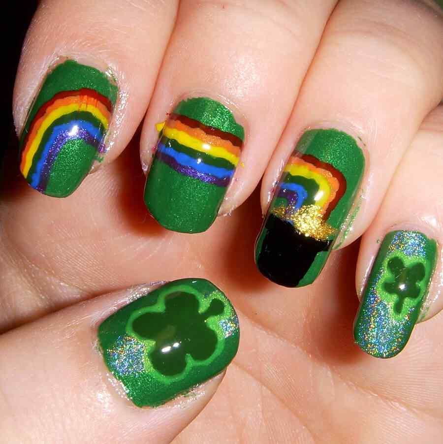 decoracion uñas arco iris duendes san patricio