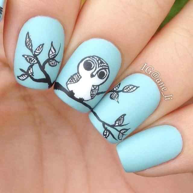 uñas con diseños de buhos