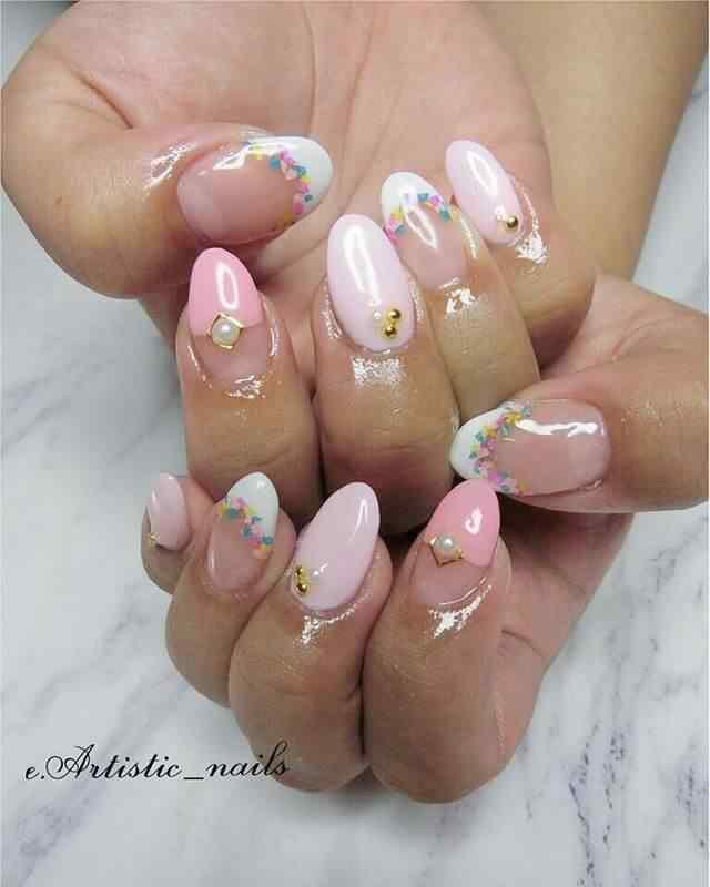 uñas de gel rosa