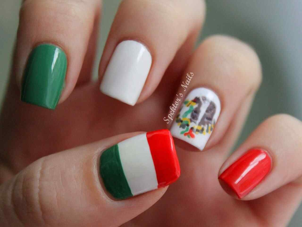 unas decorada bandera de mexico (3)