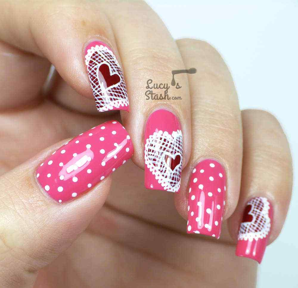 Nail Art Valentines Day Design Simple