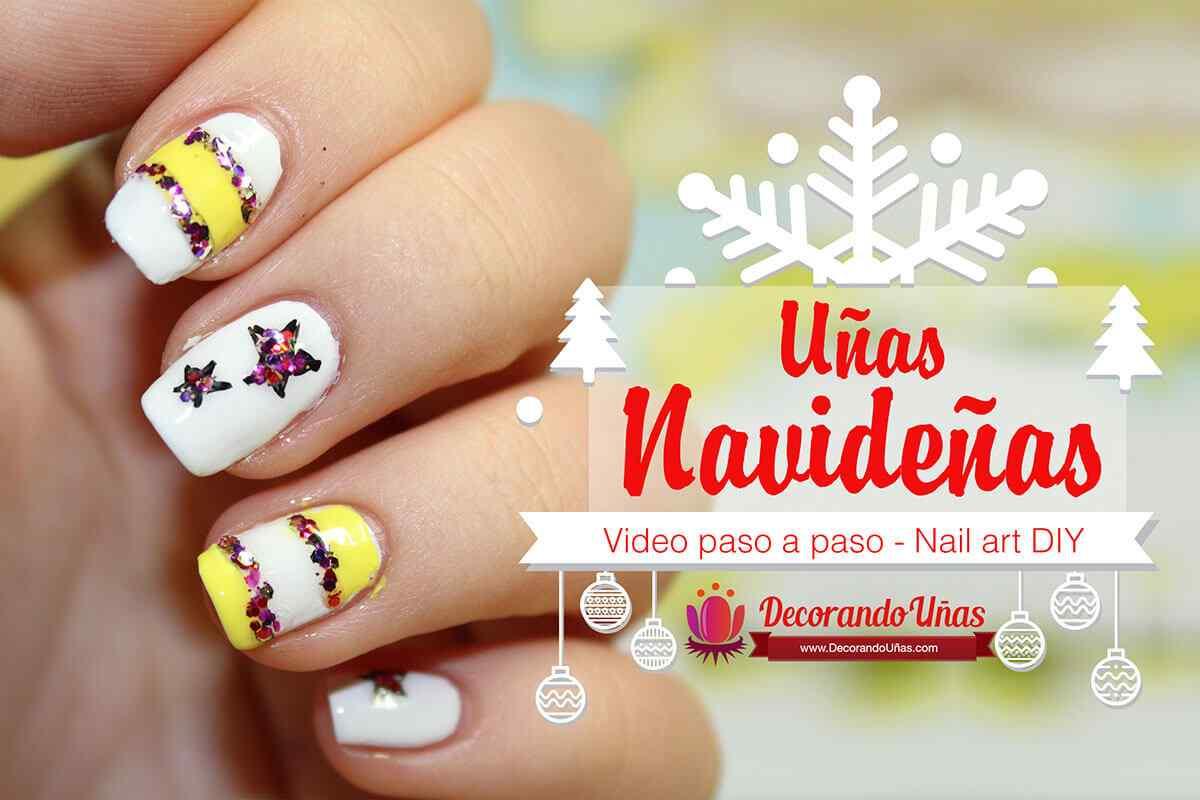 unas-navidenas-amarillas-estrellas-nail-art-diy