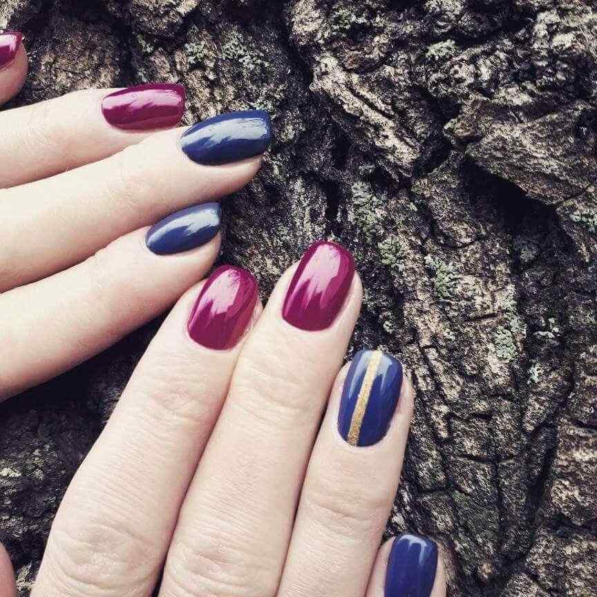 uñas otoño azules