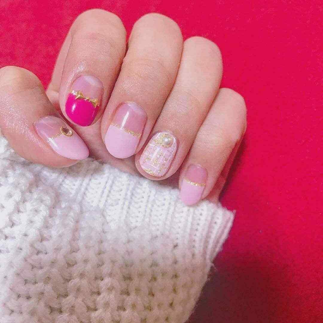 uñas invierno rosa