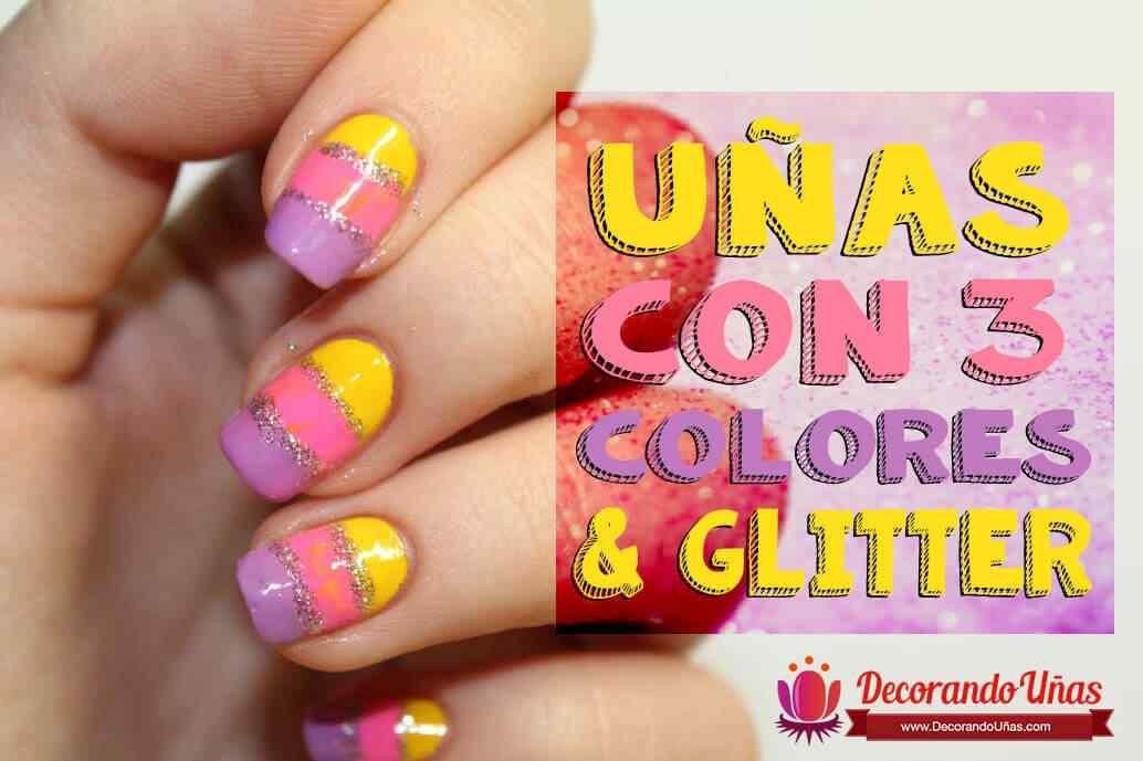 unas-tricolor-con-glitter
