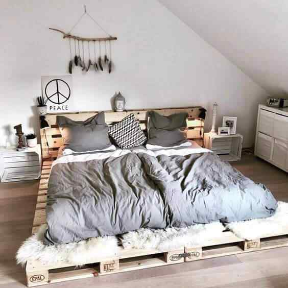 cama de 2 plazas con madera de palet