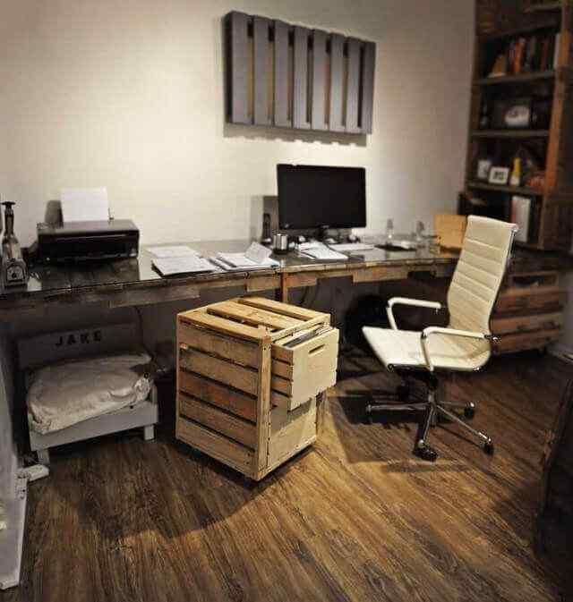 mesa de trabajo pc con madera palet