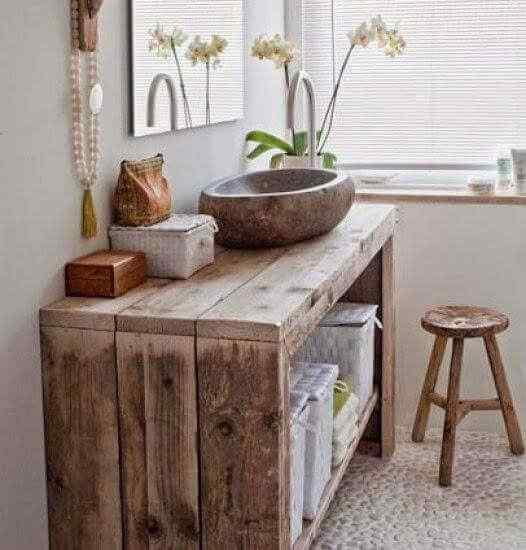 mesada de baño en madera palet