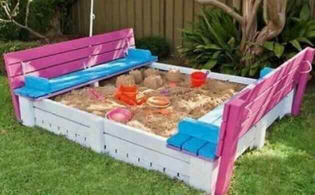 mueble de palet exterior para niños