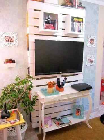 mueble de palet para televisor