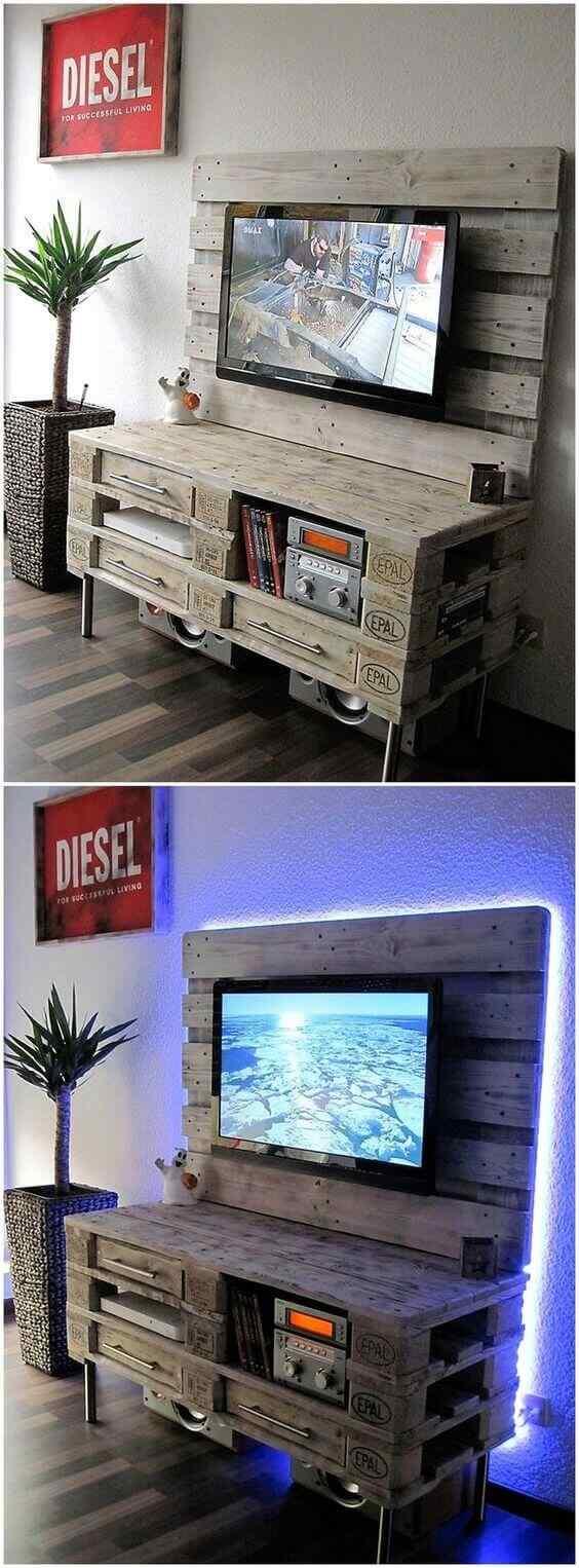mueble de palet para tv con luces led