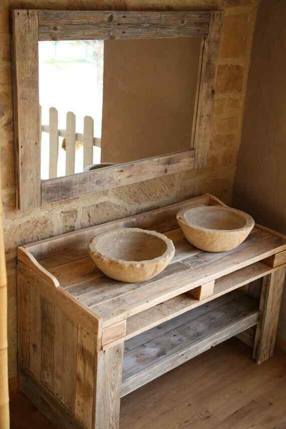 mueble doble bacha para baño en palet