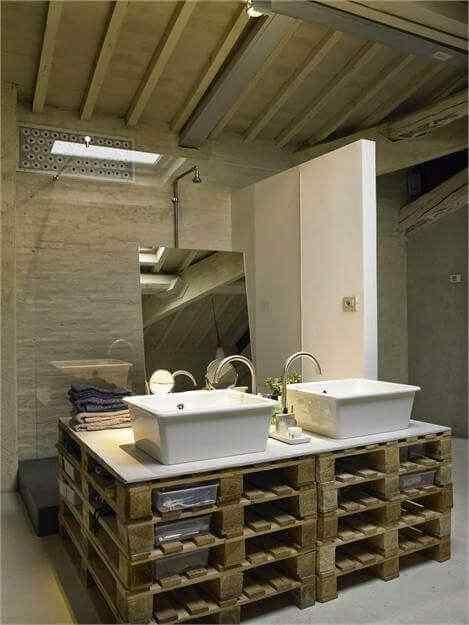 mueble en madera palet para baño