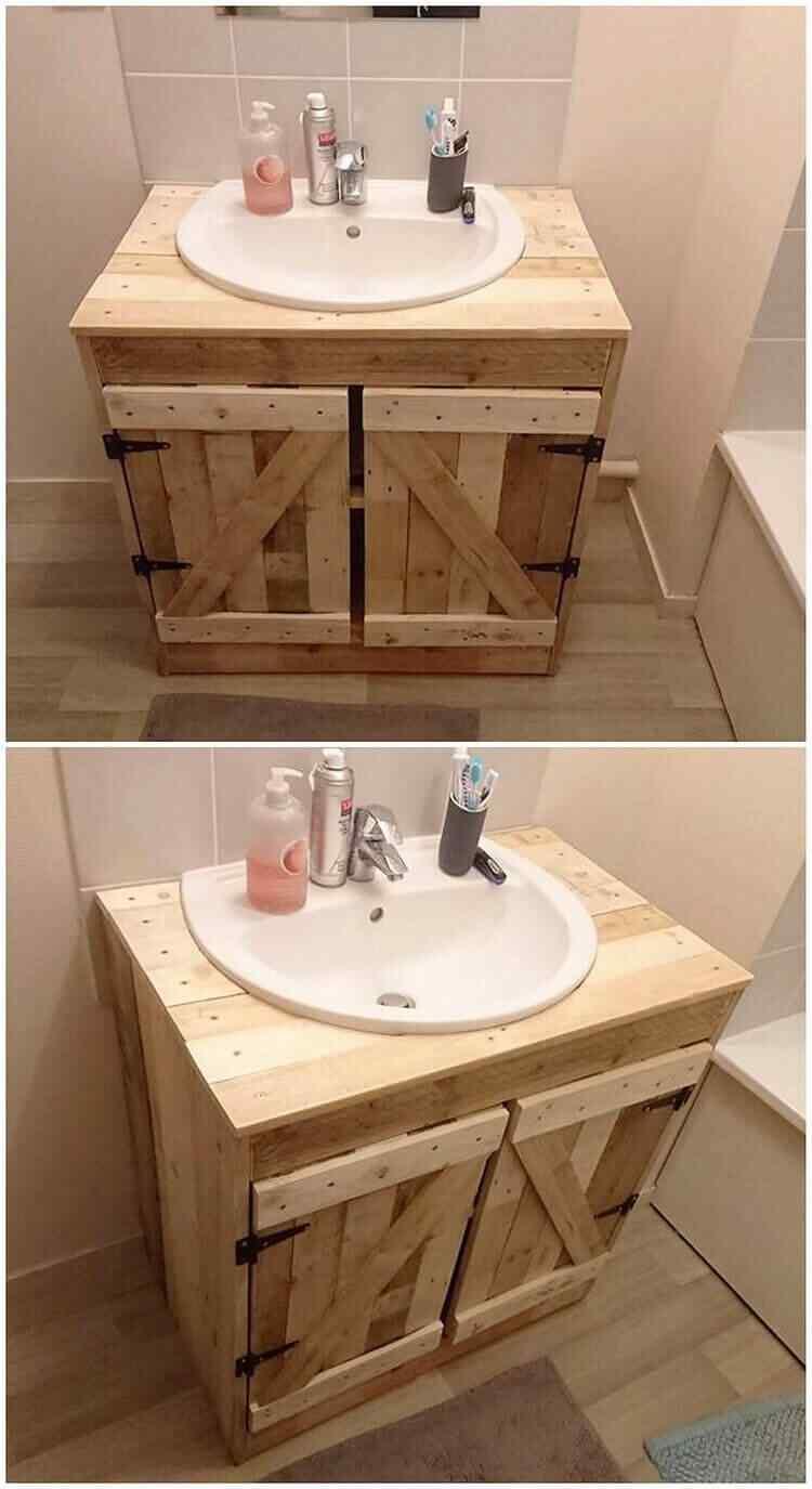 mueble simple de palet para baño