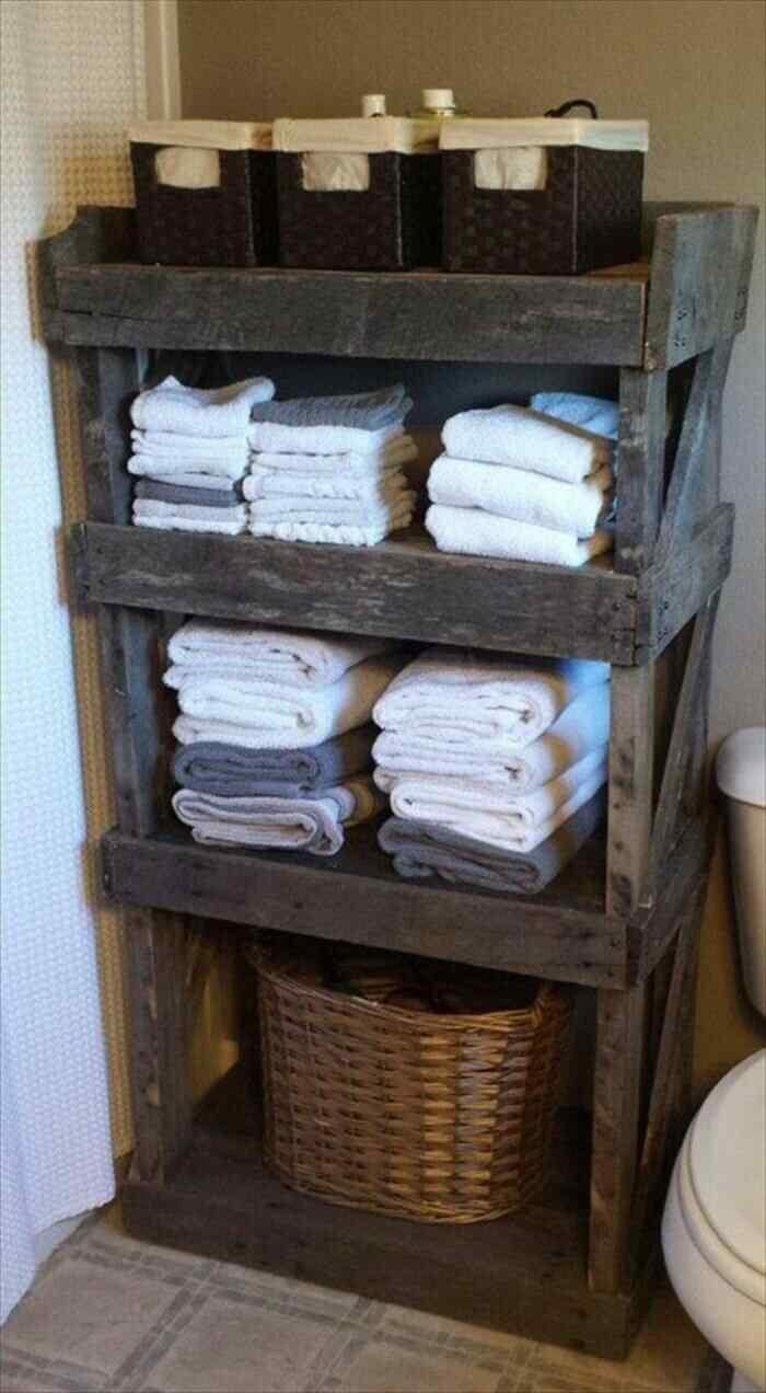 muebles con palets gabinete para baño toallas