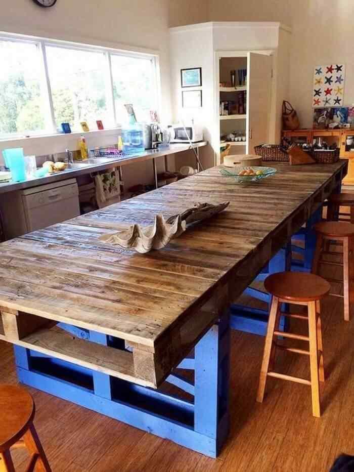 muebles de palets larga mesa de comer