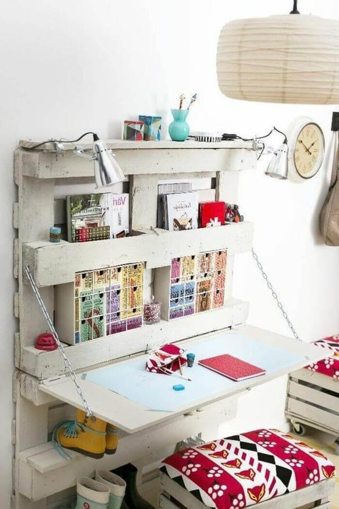 muebles palets pc escritorio habitación juvenil en blanco