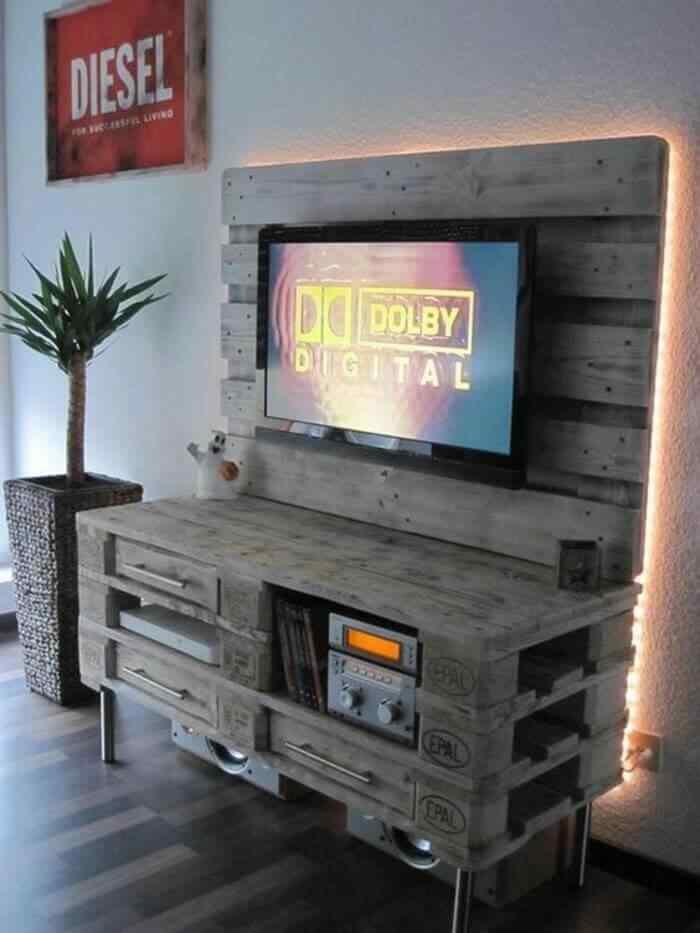 muebles reciclados de palets para la sala de estar tv