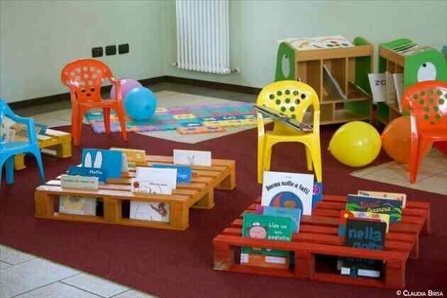 organizador juguetes niños en palet