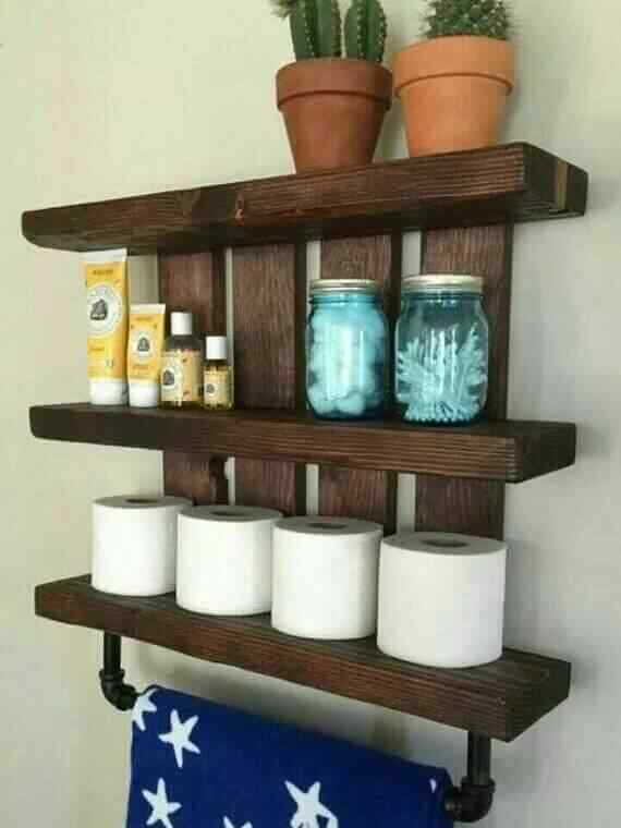 repisa organizador baño de madera reciclada palet