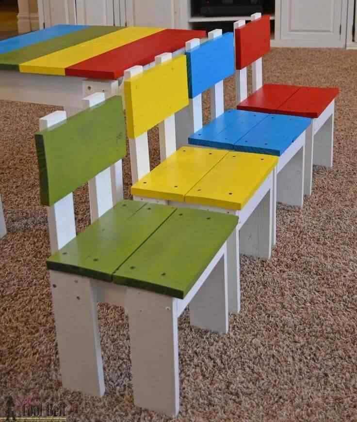 sillas madera palet para niños