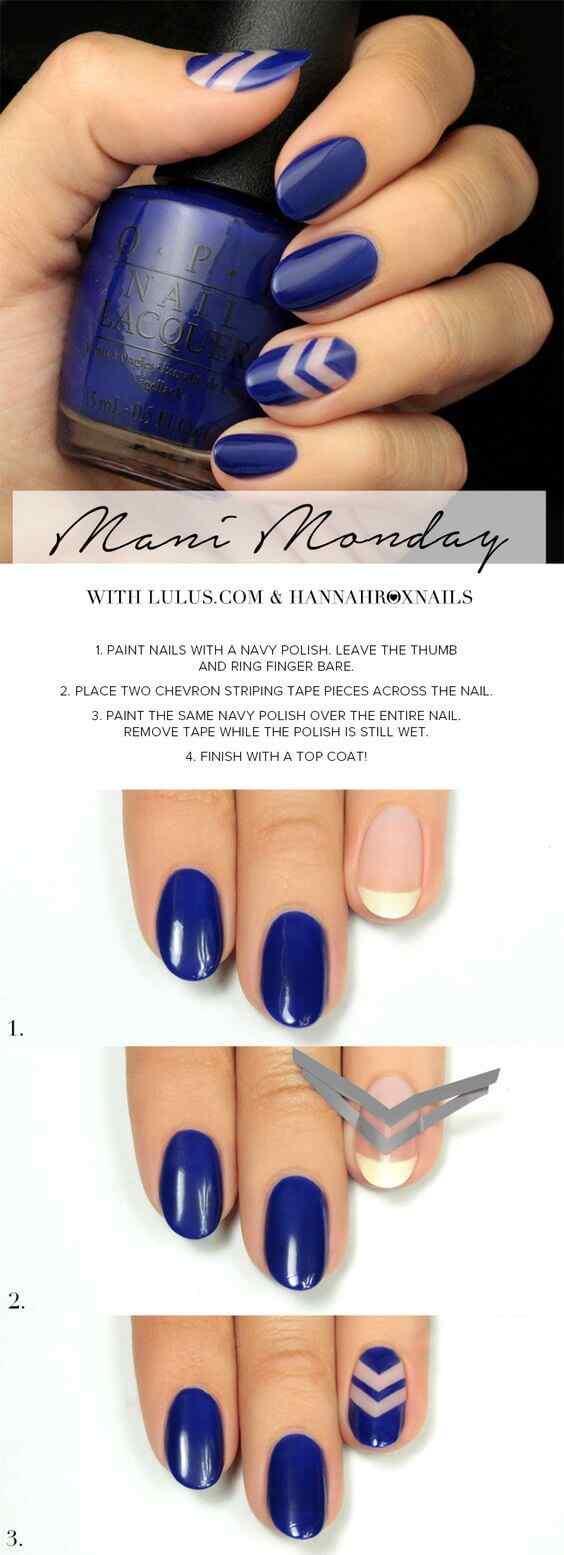 tutorial uñas azules sencillas
