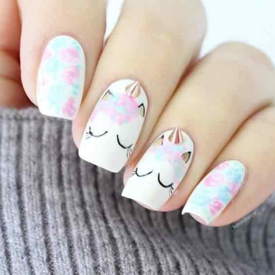 uñas blancas para niñas