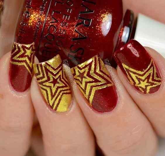 unas decoradas rojo y dorado (6)