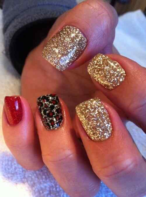 unas decoradas rojo y dorado (7)