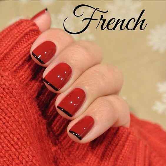 uñas francesas rojo y negro
